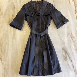 RK Spring/Fall Trench Style Coat w Leather Trim M